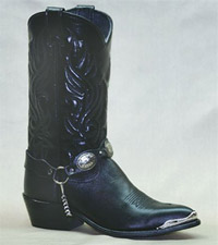 Women's 11 inch Black Cowhide Sage Boot 3585 with Concho Ankle Bracelet